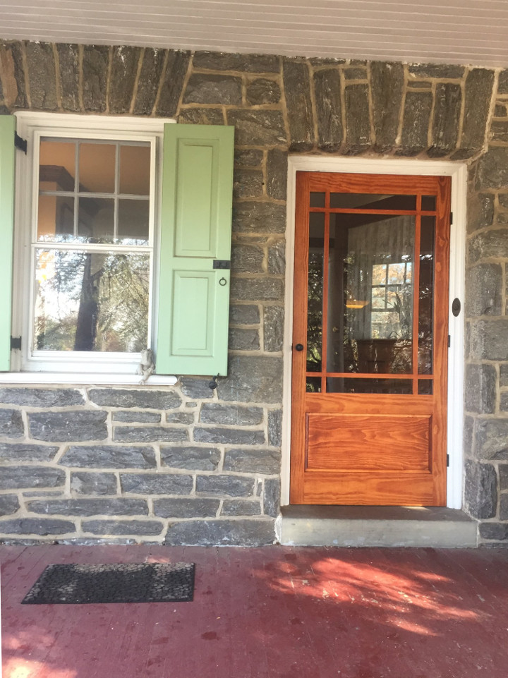 Wooden storm door by Victoriana East installed in Ardmore, PA