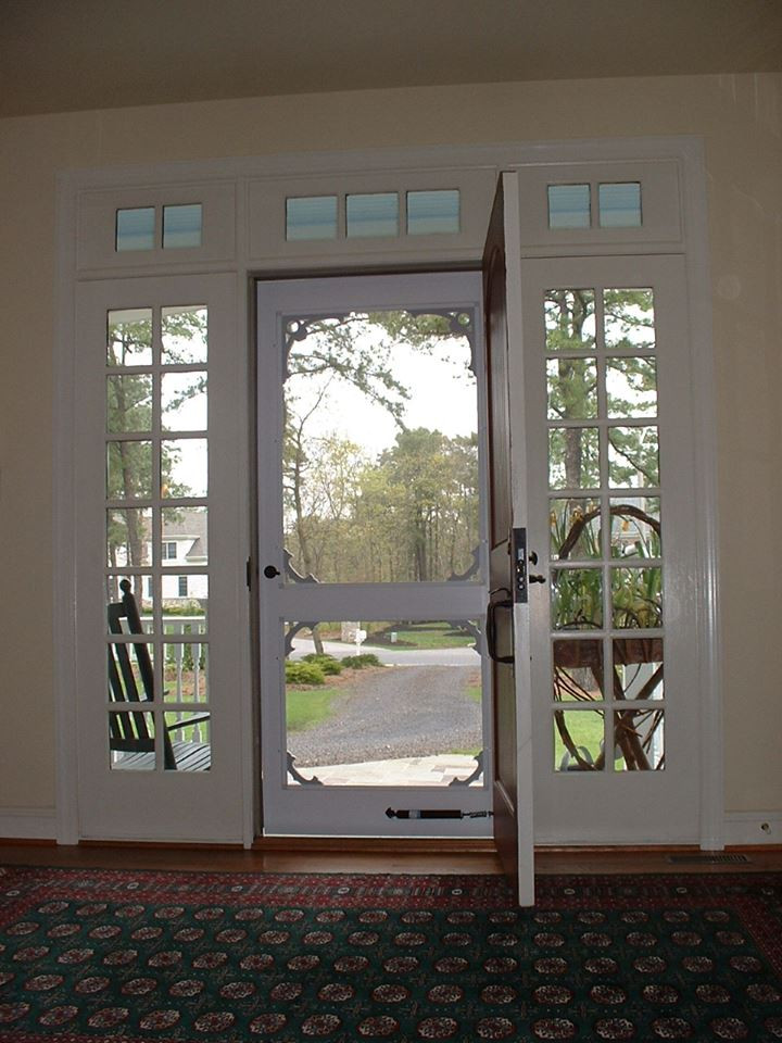 Custom wooden storm door